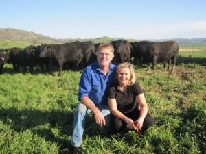 Bill and Shauna with Bongongo bulls Spring 2010